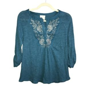 Anthropologie Meadow Rue Embroidered Peasant Top